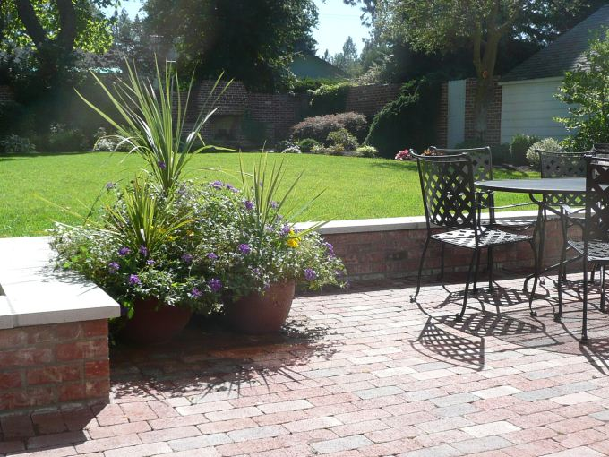 ... Red Brick Walls With Cement Cap And Red Paver Patio ...