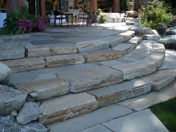 Elegant ... Natural Flagstone Patio Steps ...