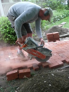 Marvelous Here Nate Is Cutting Through The Clay Paver Using A Dry Hot Saw.