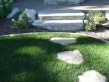 Cut Granite stairs and stepping stones